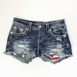 Miss Me | Distressed Signature Shorts Flag Print
